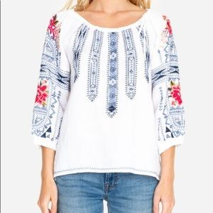 JOHNNY WAS DAVIS TIE EMBROIDERED PEASANT BLOUSE